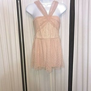 Free People Dot Lace Halter Top Sz XS